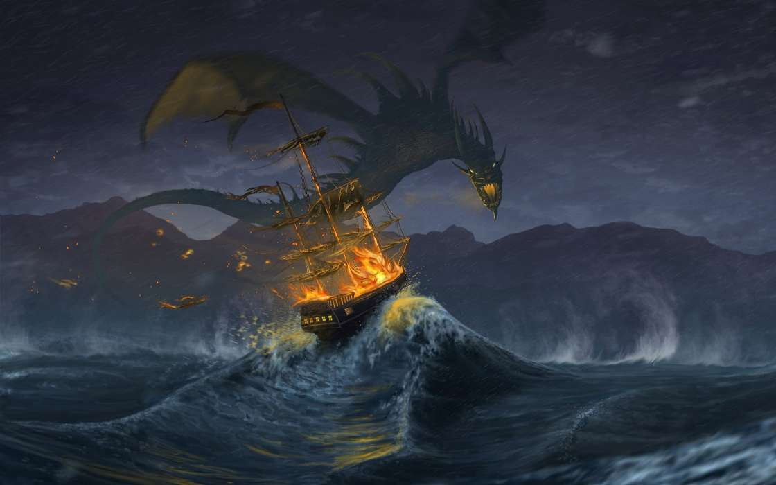 Water, Fantasy, Ships, Dragons, Fire