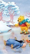 Scaricare immagine 1080x1920 Cartoon, Winter, ice, Snow, Drawings, Winnie the Pooh sul telefono gratis.